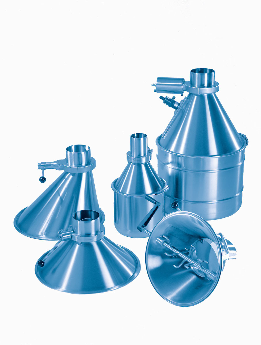 Stainless steel drums, hoppers and valves